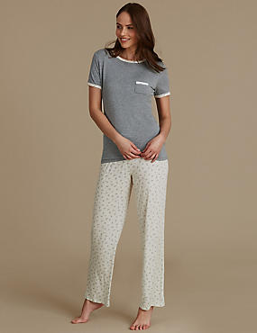 Leaf Print Short Sleeve Pyjamas