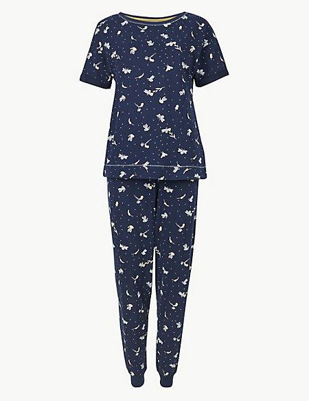 Pure Cotton Bee Cuffed Hem Pyjama Set