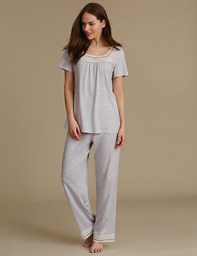Modal Blend Crochet Trim Striped Pyjamas