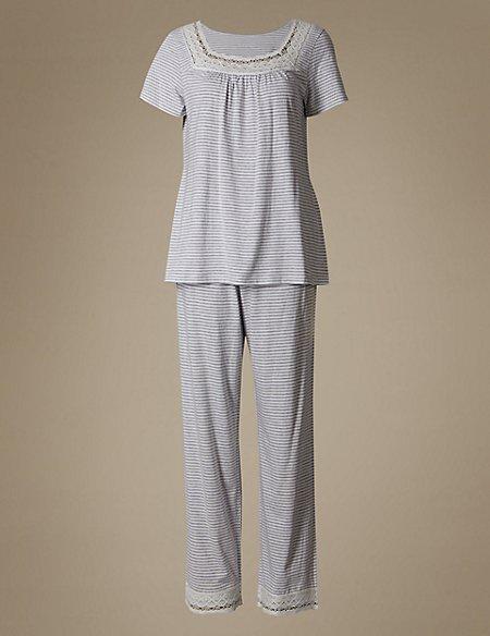 Modal Blend Crochet Short Sleeve Pyjama Set