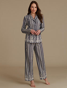 Pure Cotton Embroidered Revere Collar Pyjamas