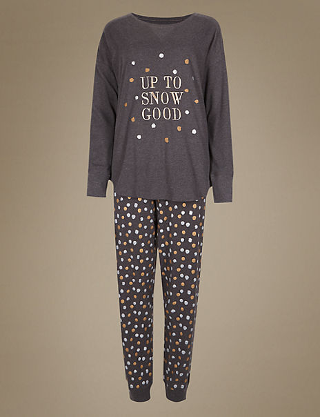 Snow Print Long Sleeve Pyjama Set