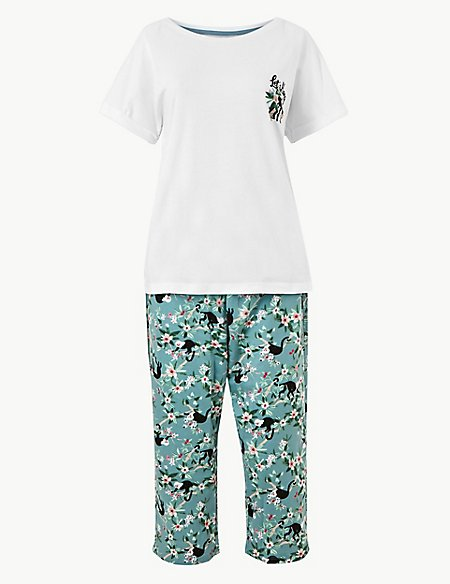 Pure Cotton Jungle Cropped Pyjama Set