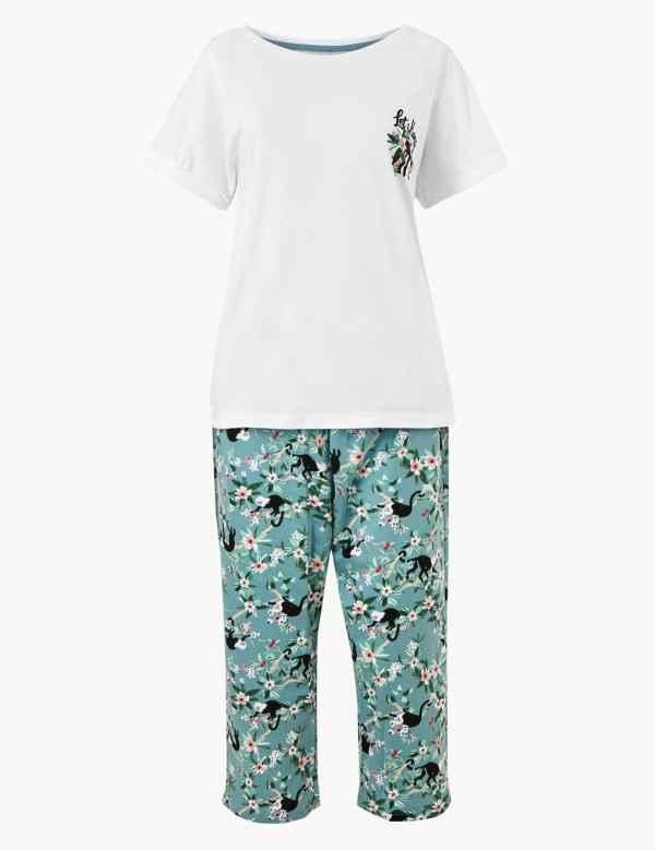 6b2cf4e104 Pure Cotton Jungle Cropped Pyjama Set. New