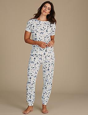 Animal Print Short Sleeve Pyjama Set, OATMEAL MIX, catlanding