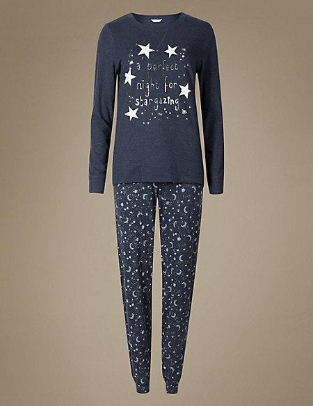 Cotton Rich Printed Long Sleeve Pyjamas