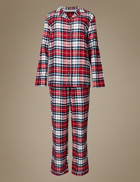 Pure Cotton Checked Revere Collar Pyjama Set