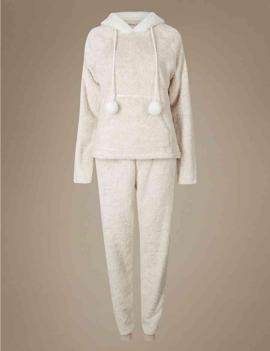 20f46c44bdc6 Fleece Hooded Long Sleeve Pyjamas