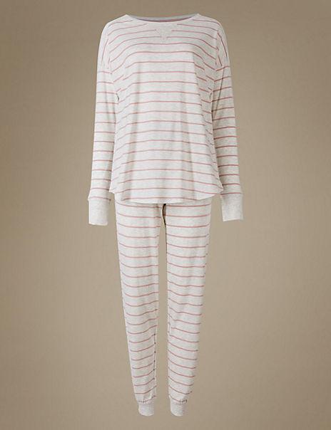 Cotton Rich Striped Long Sleeve Pyjamas
