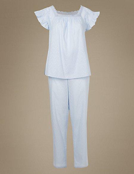 Pure Cotton Textured Pyjama Set