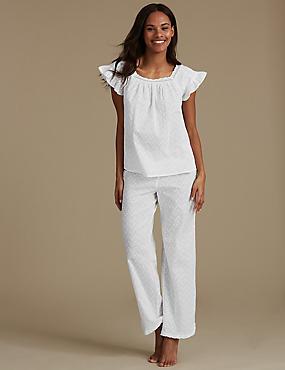 Pure Cotton Textured Pyjama Set, WHITE, catlanding