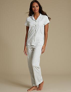 Feather Print Short Sleeve Pyjama Set