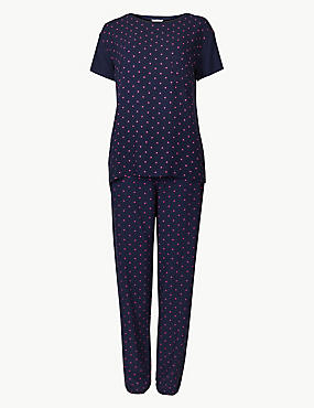 Star Print Short Sleeve Pyjama Set, NAVY MIX, catlanding