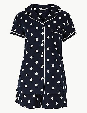 Spot Print Short Sleeve Pyjama Set