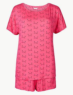 Short Sleeve Cat Print Pyjama Set, PINK MIX, catlanding