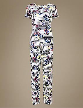 Floral Print Short Sleeve Pyjama Set  , NAVY MIX, catlanding