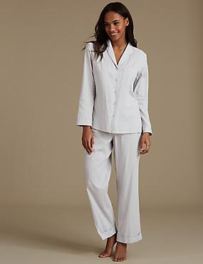 Pure Cotton Textured Long Sleeve Pyjama Set, GREY MIX, catlanding