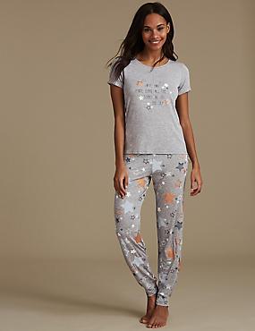 Star Print Short Sleeve Pyjama Set, GREY MIX, catlanding