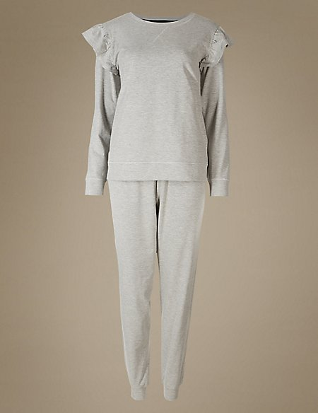 Ruffle Sleeve Ribbed Hem Pyjama Set