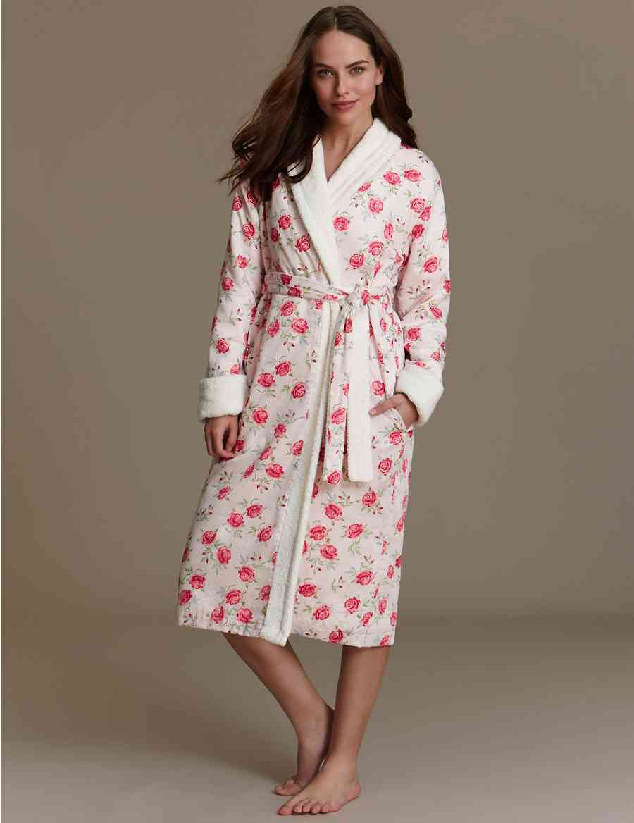 5e47051e5d Pure Cotton Floral Cosy Towelling Dressing Gown