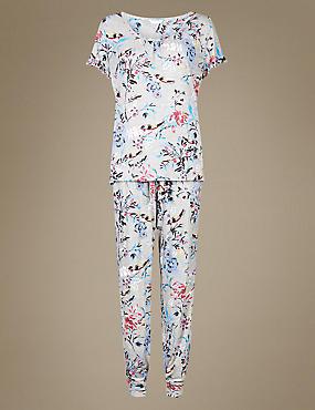 Floral Print Short Sleeve Pyjama Set, GREY MIX, catlanding