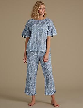 Pure Cotton Floral Print Pyjama Set  , BLUE MIX, catlanding