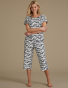 Printed Cropped Short Sleeve Pyjama Set, OATMEAL MIX, catlanding