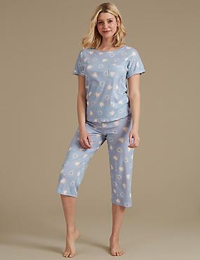 Heart Print Cropped Pyjama Set