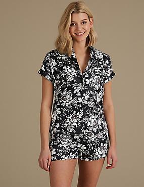 Satin Floral Print Short Pyjama Set