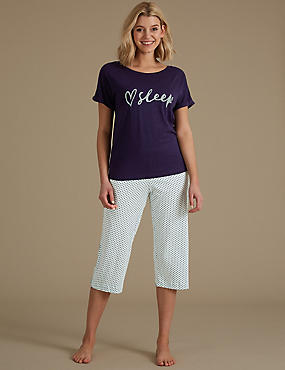 Printed Cropped Pyjama Set
