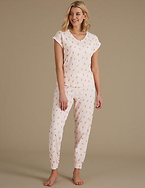 Pure Cotton Printed Short Sleeve Pyjama Set, PINK MIX, catlanding