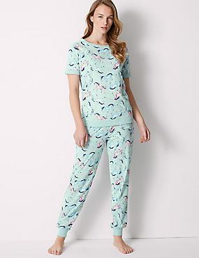 Cotton Rich Unicorn Short Sleeve Pyjama Set, MINT MIX, catlanding
