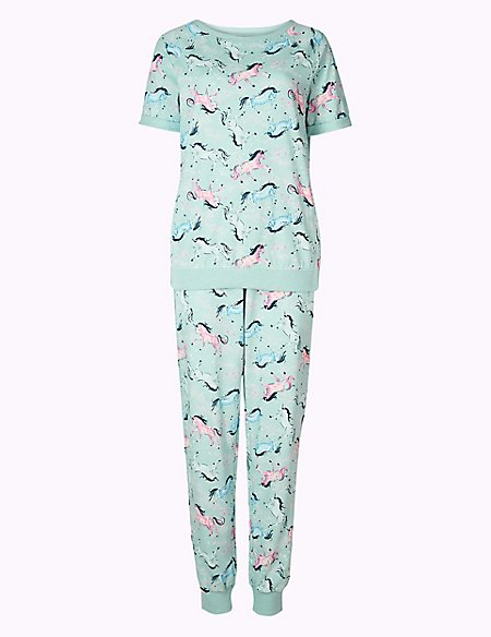 Cotton Rich Unicorn Short Sleeve Pyjama Set