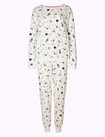 Cotton Rich Llama Print Pyjama Set