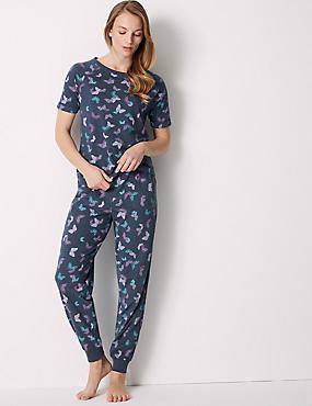 Butterfly Print Short Sleeve Pyjama Set, NAVY MIX, catlanding