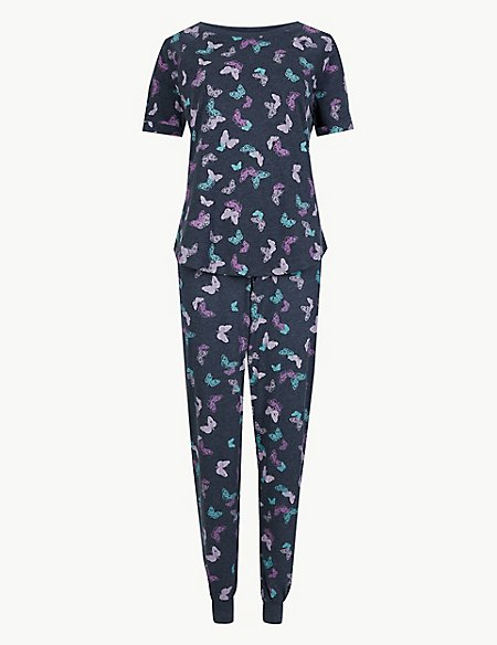 Butterfly Print Short Sleeve Pyjama Set