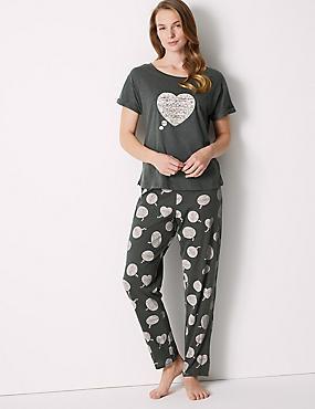 Cotton Rich Snooze Print Pyjama Set, DARK GREY MIX, catlanding