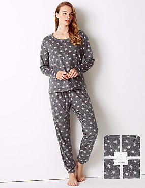 Fleece Star Print Long Sleeve Pyjama Set