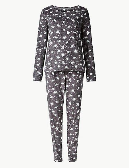 Fleece Star Print Long Sleeve Pyjama Set
