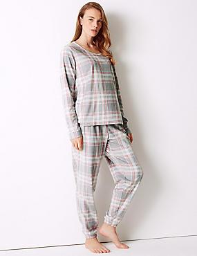 Fleece Checked Long Sleeve Pyjama Set, LIGHT PINK MIX, catlanding