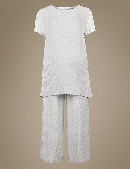 Maternity Cropped Short Sleeve Pyjama Set