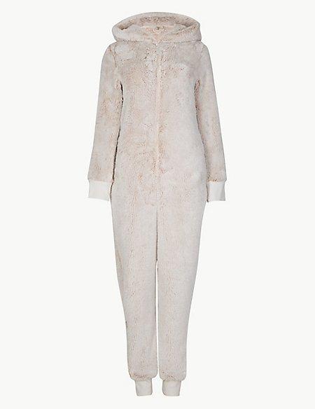 Fleece Textured Long Sleeve Onesie