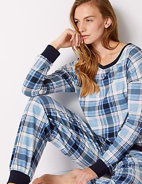 Cotton Rich Checked Long Sleeve Pyjama Set, MEDIUM BLUE MIX, catlanding