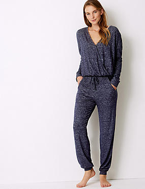 Cosy Knit Textured Onesie , NAVY MIX, catlanding