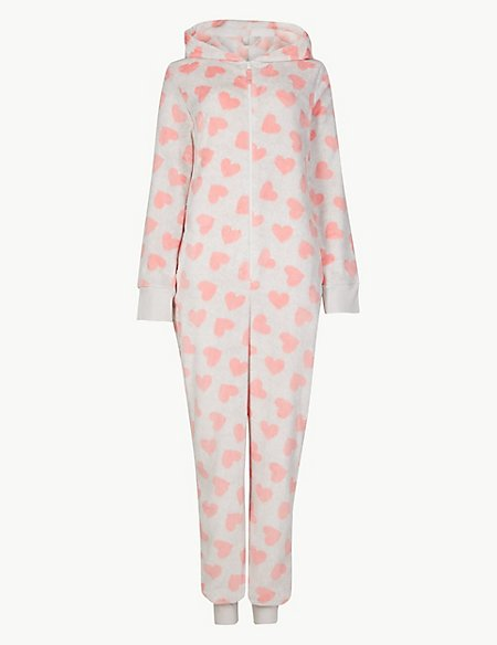 Fleece Heart Print Long Sleeve Onesie
