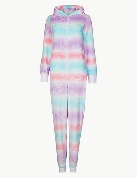 Fleece Unicorn Print Long Sleeve Onesie