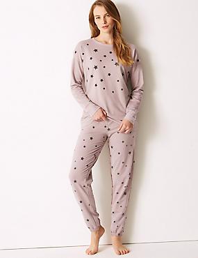 Star Print Long Sleeve Pyjama Set, PINK MIX, catlanding