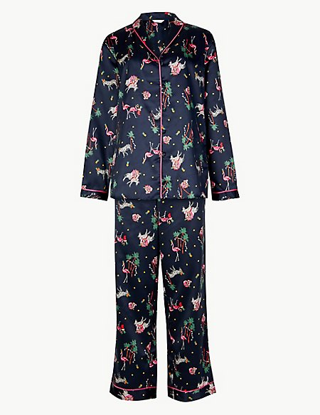 Satin Safari Print Long Sleeve Pyjama Set