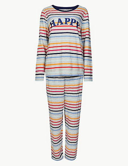 Cotton Rich Striped Long Sleeve Pyjama Set