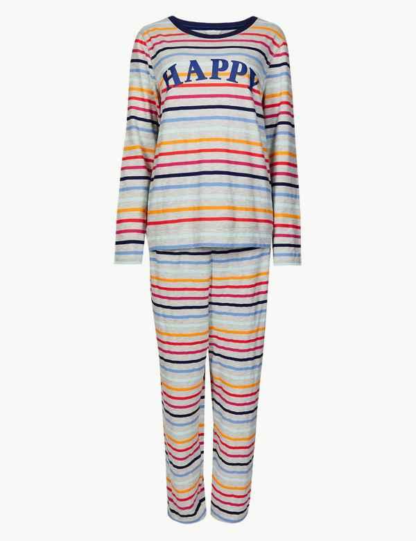 Cotton Rich Striped Long Sleeve Pyjama Set d0858a86c45